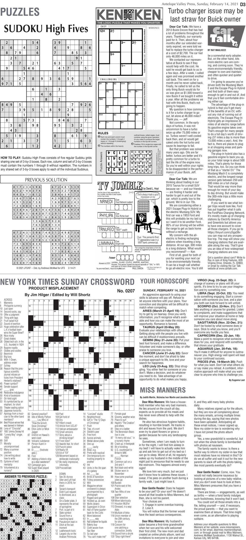 Puzzles, Feb. 14, 2021