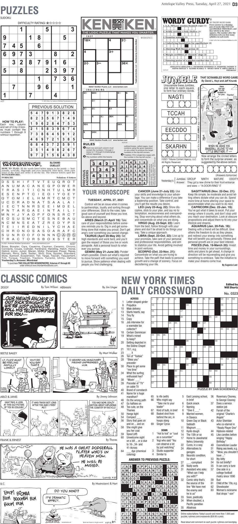 Puzzles, April 27, 2021