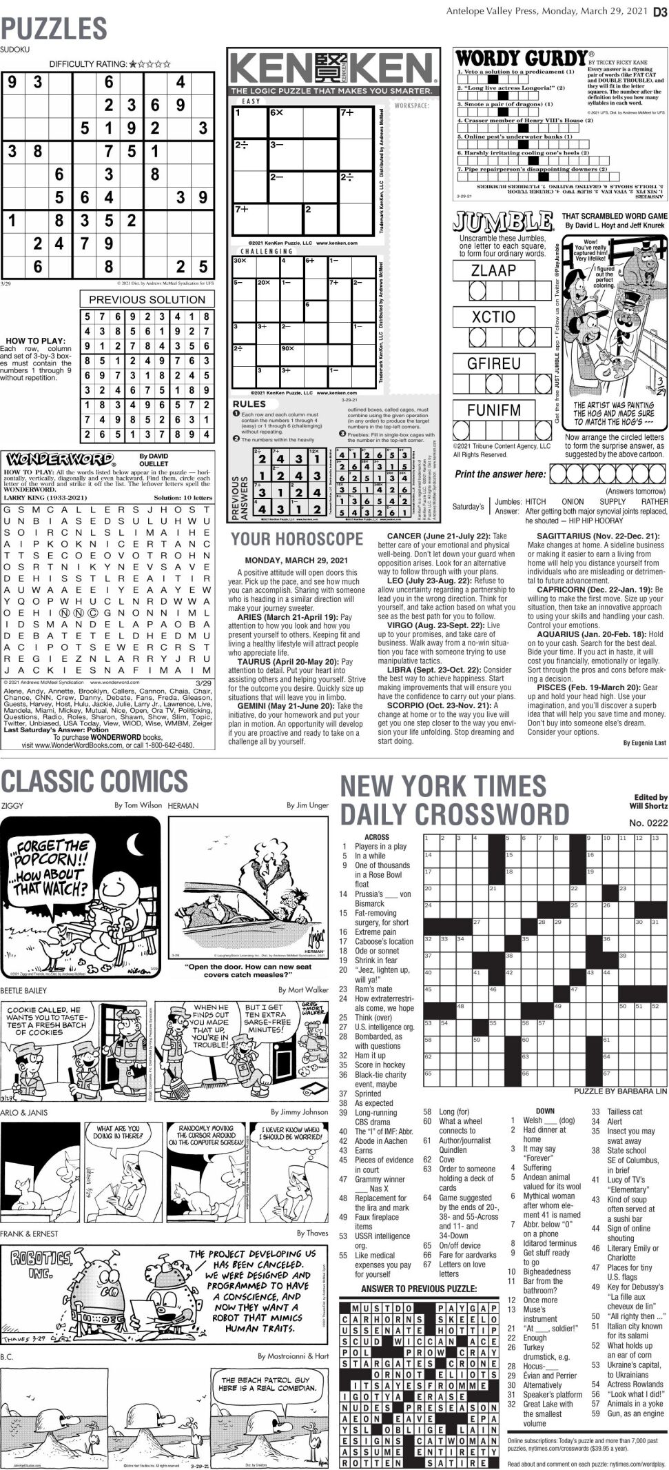 Puzzles, March 29, 2021