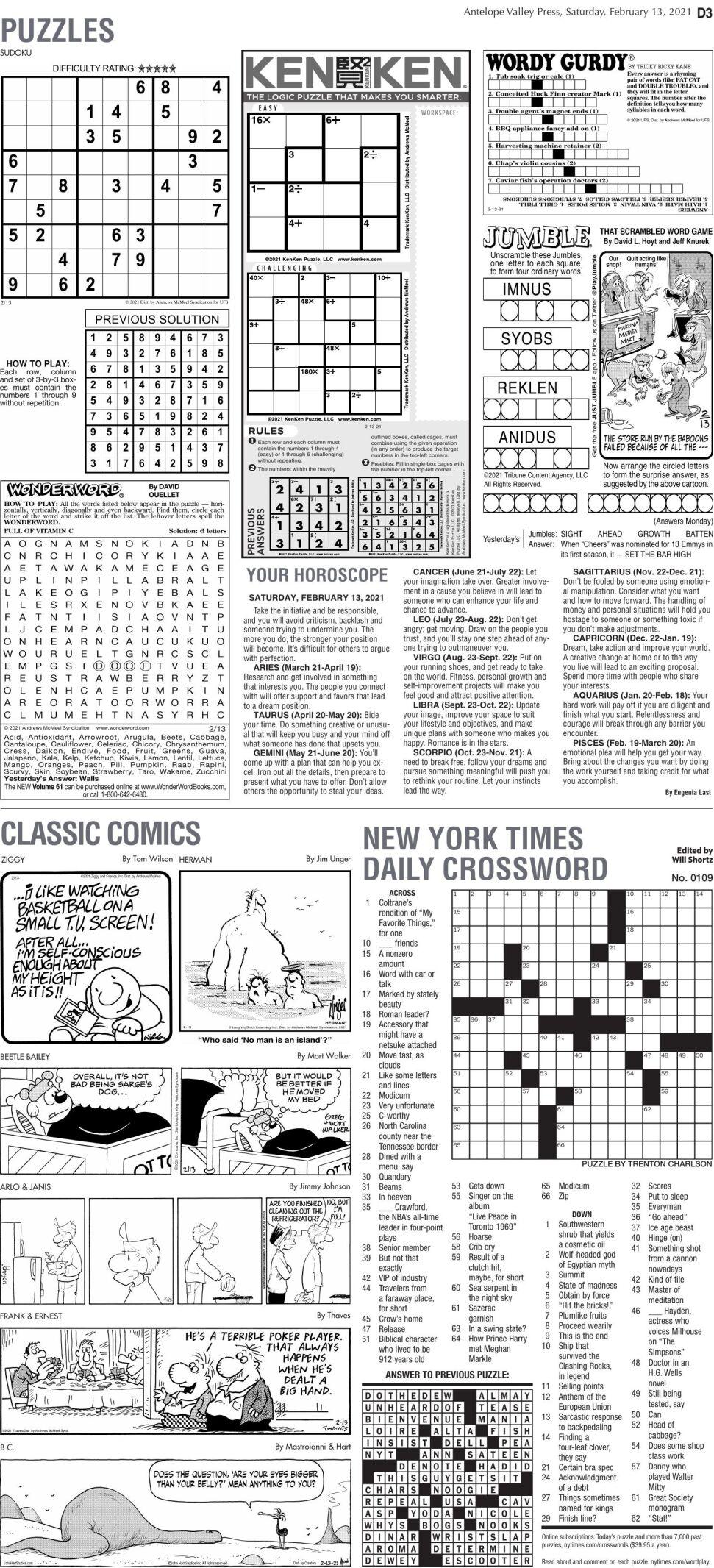 Puzzles, Feb. 13, 2021