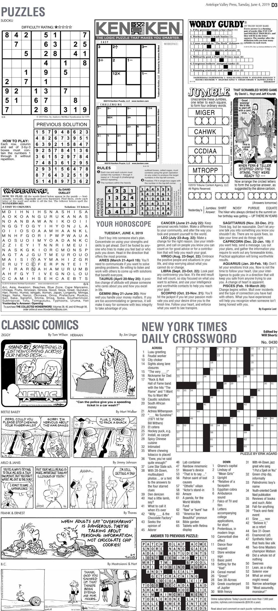 June 4, 2019 Puzzles