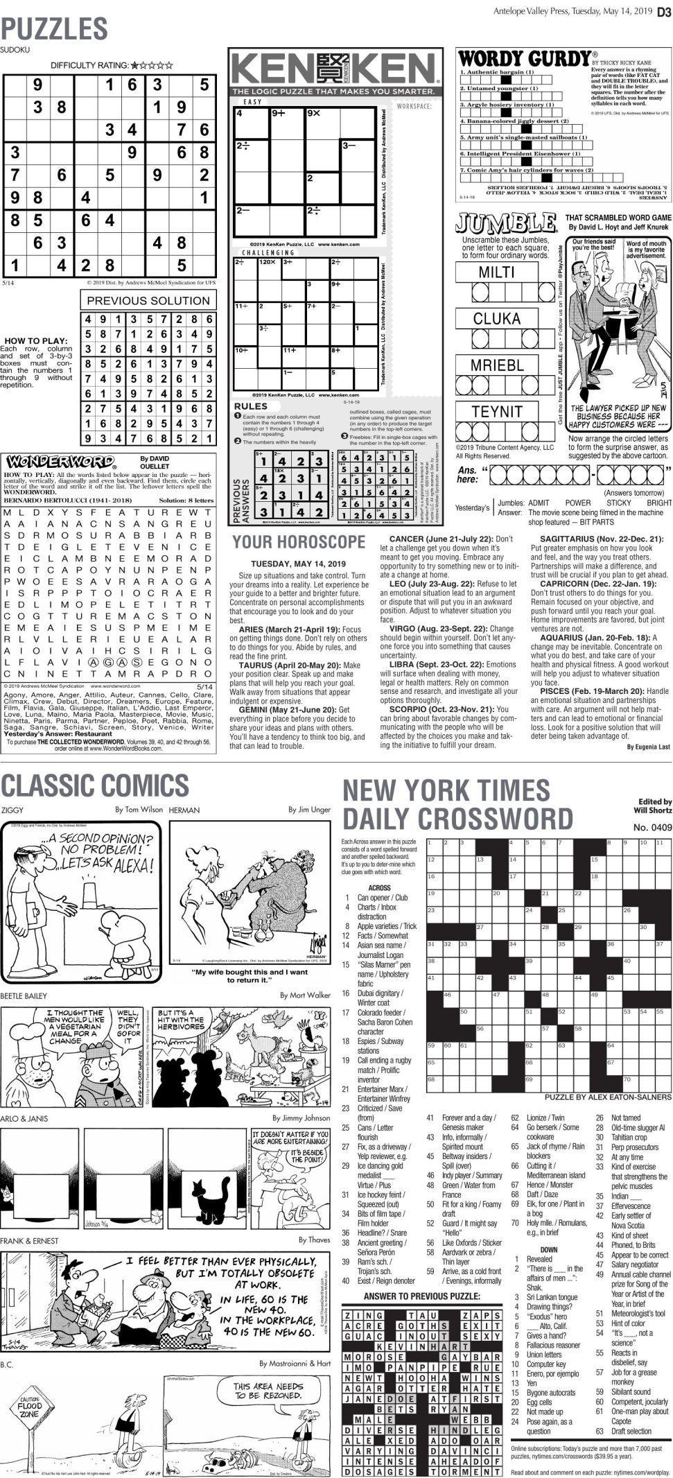 May 14, 2019 Puzzles