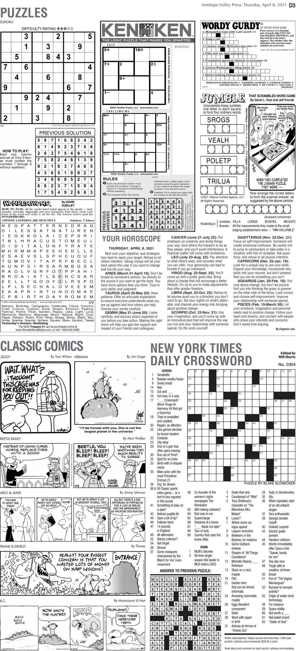 Puzzles, April 8, 2021