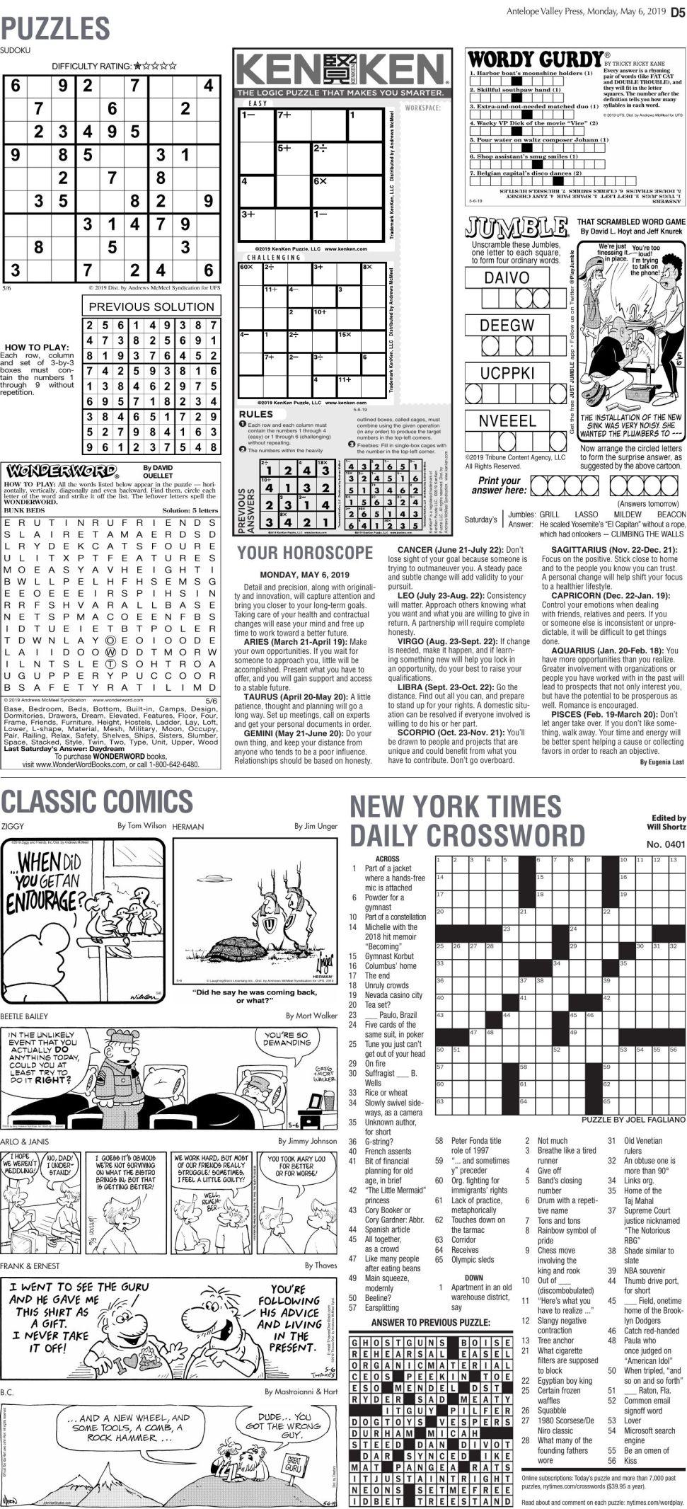 May 6, 2019 Puzzles