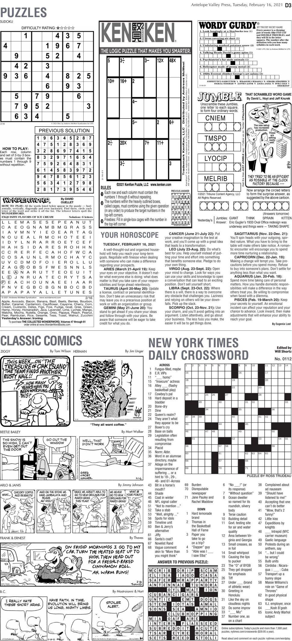 Puzzles, Feb. 16, 2021