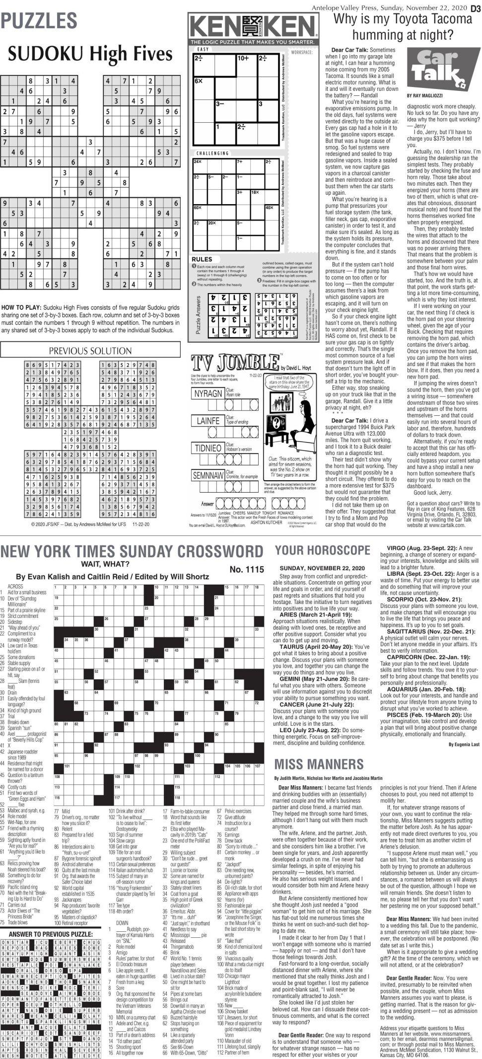 Puzzles, Nov. 22, 2020
