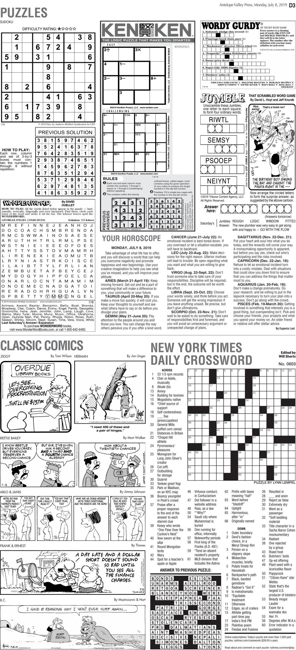 July 8, 2019, Puzzles