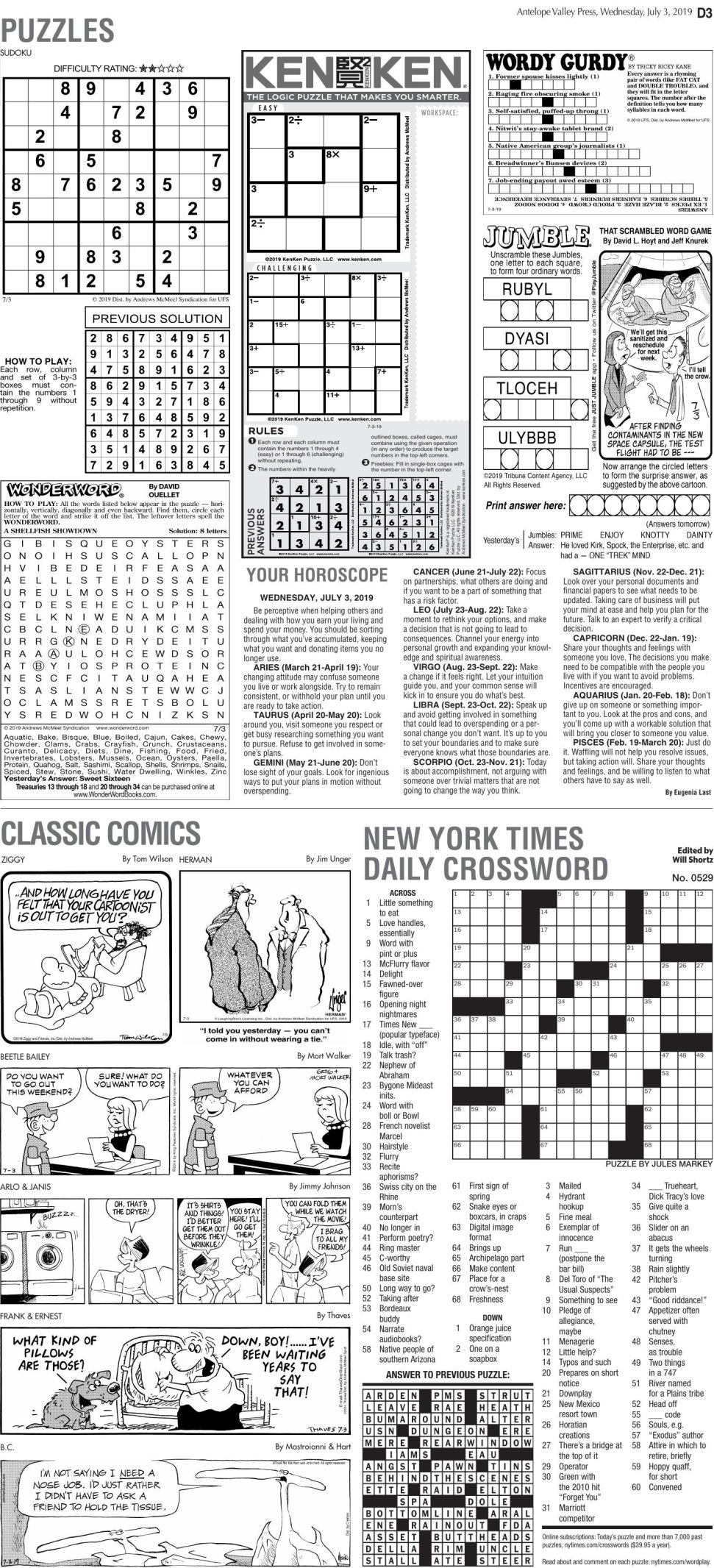 July 3, 2019 Puzzles