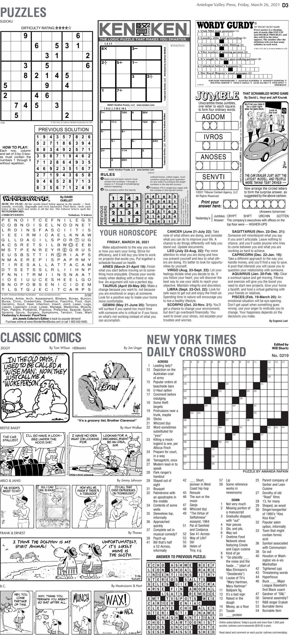 Puzzles, March 26, 2021