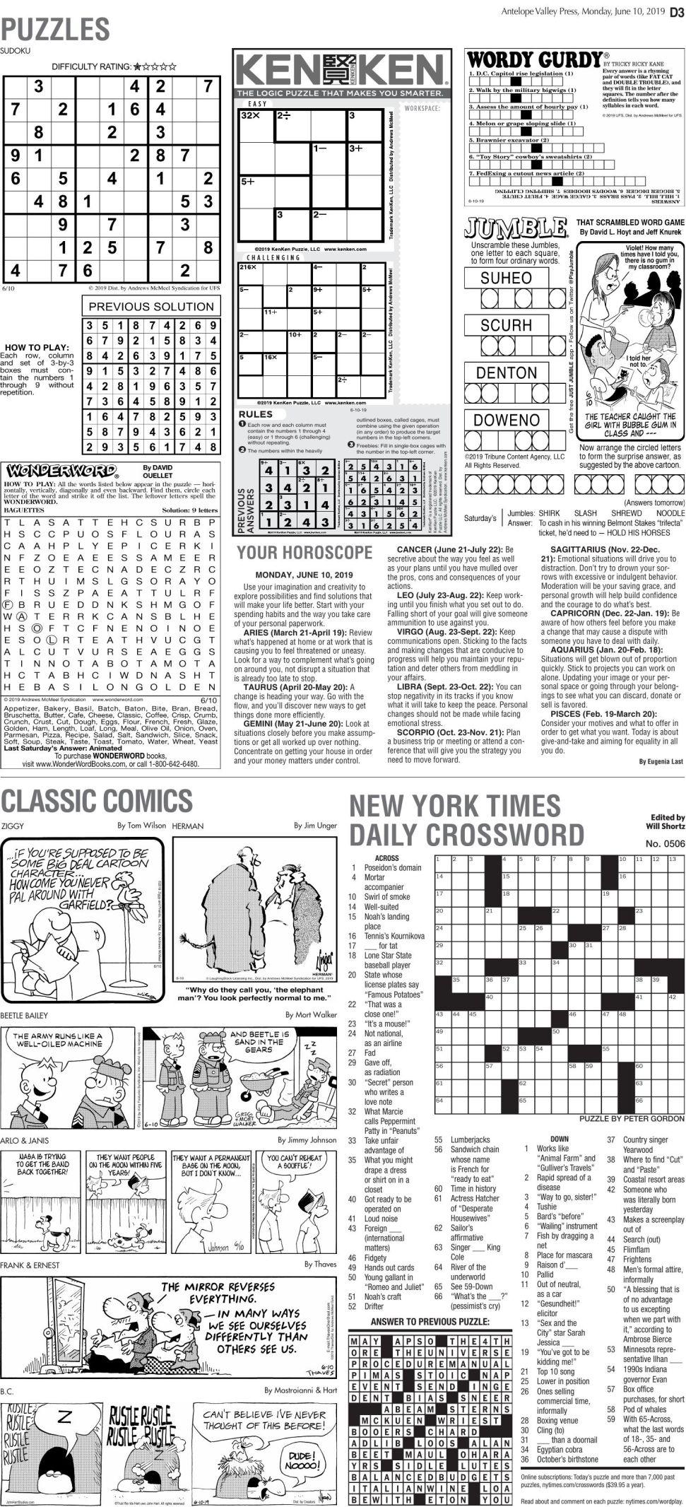 June 10, 2019, Puzzles