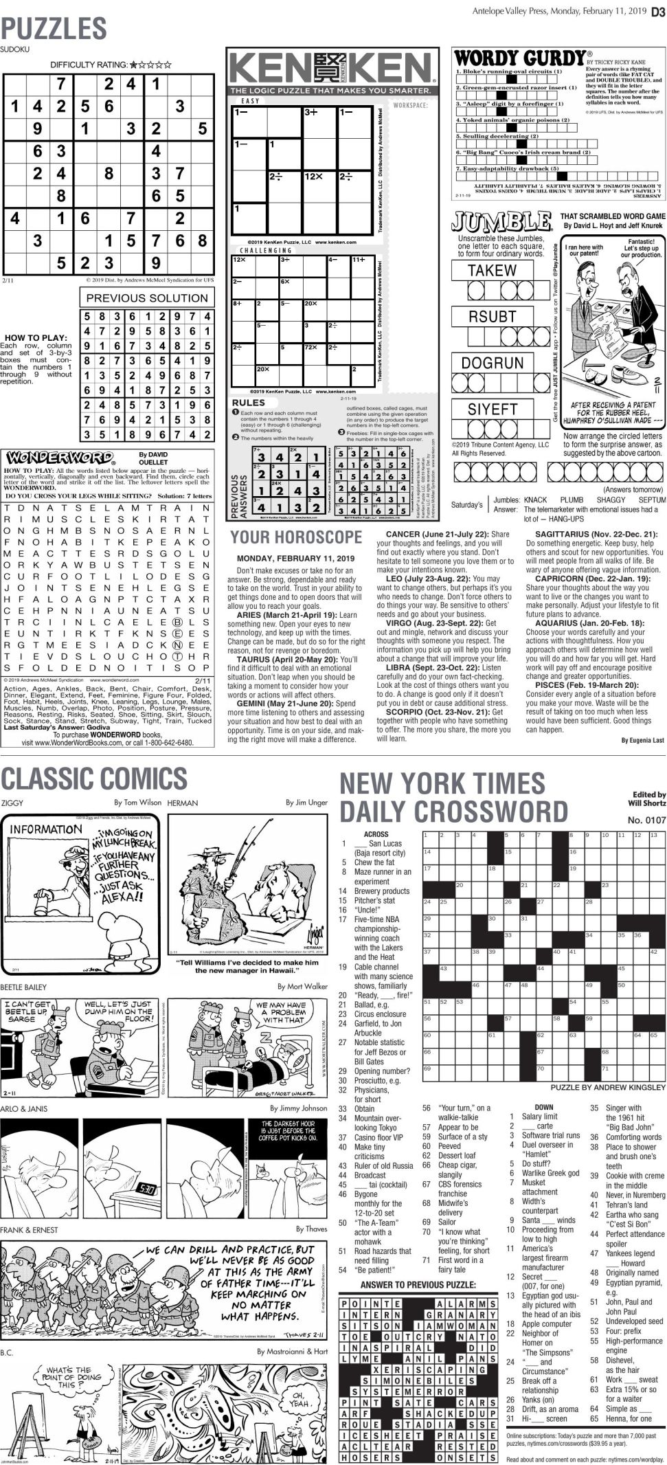 Feb. 11, 2019 Puzzles