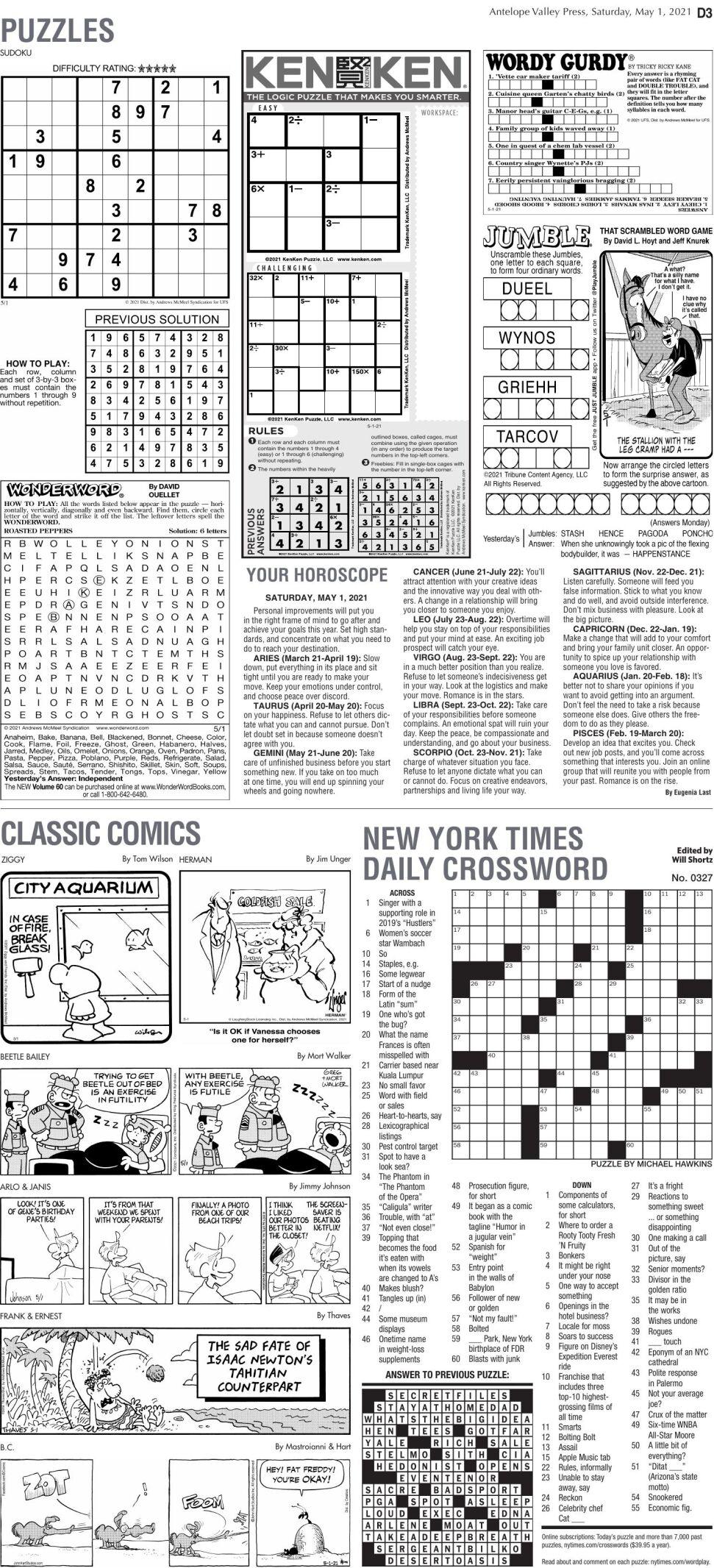 Puzzles, May 1, 2021