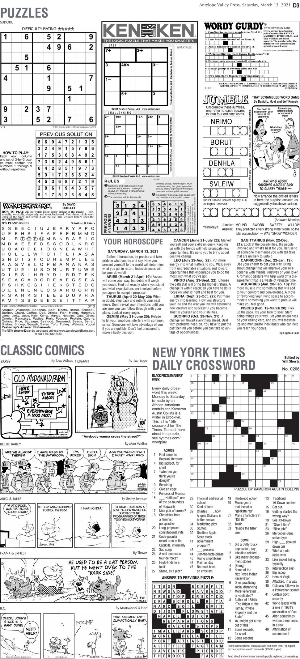 Puzzles, March 13, 2021