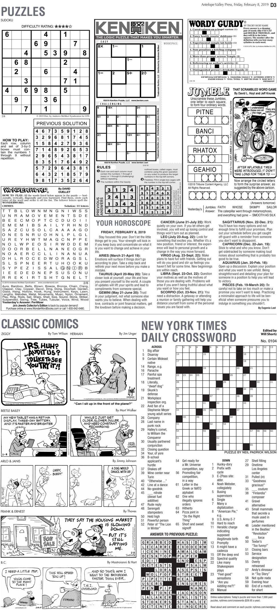 Feb. 8, 2019 Puzzles