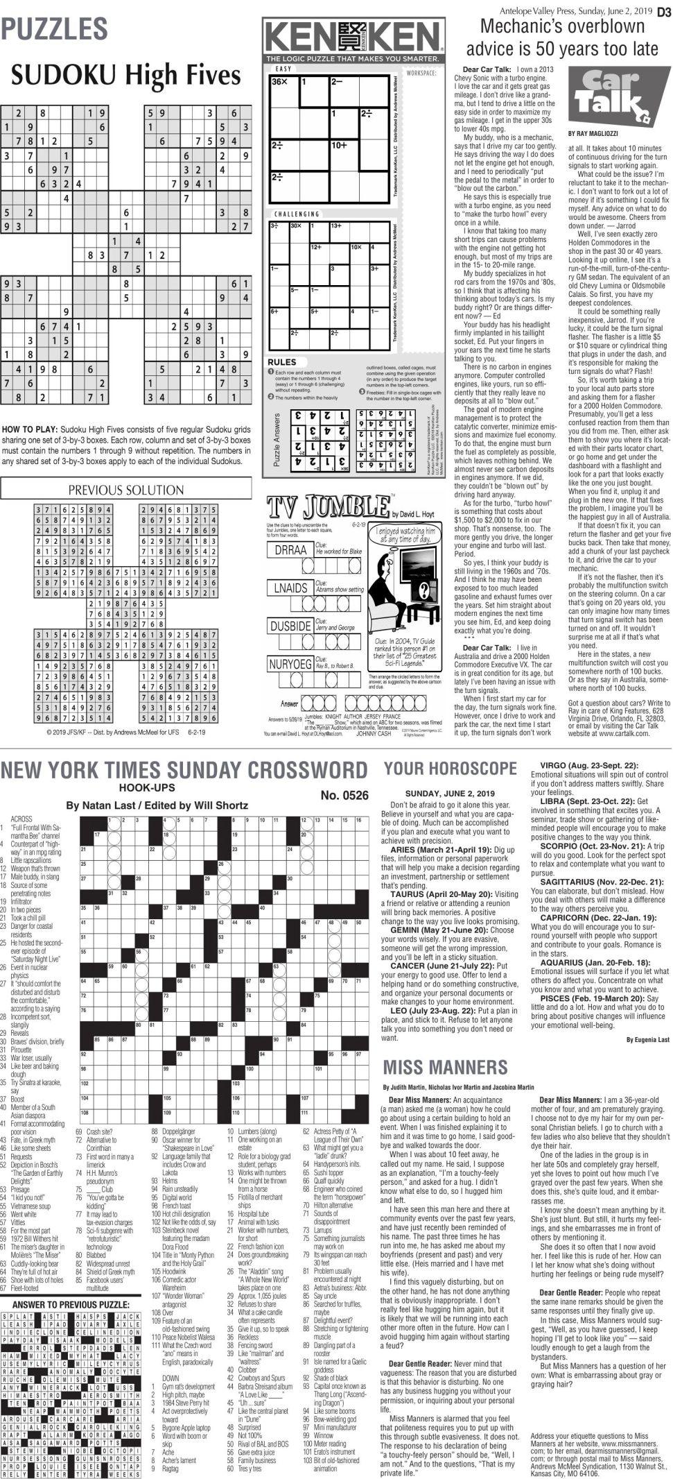 June 2, 2019, Puzzles