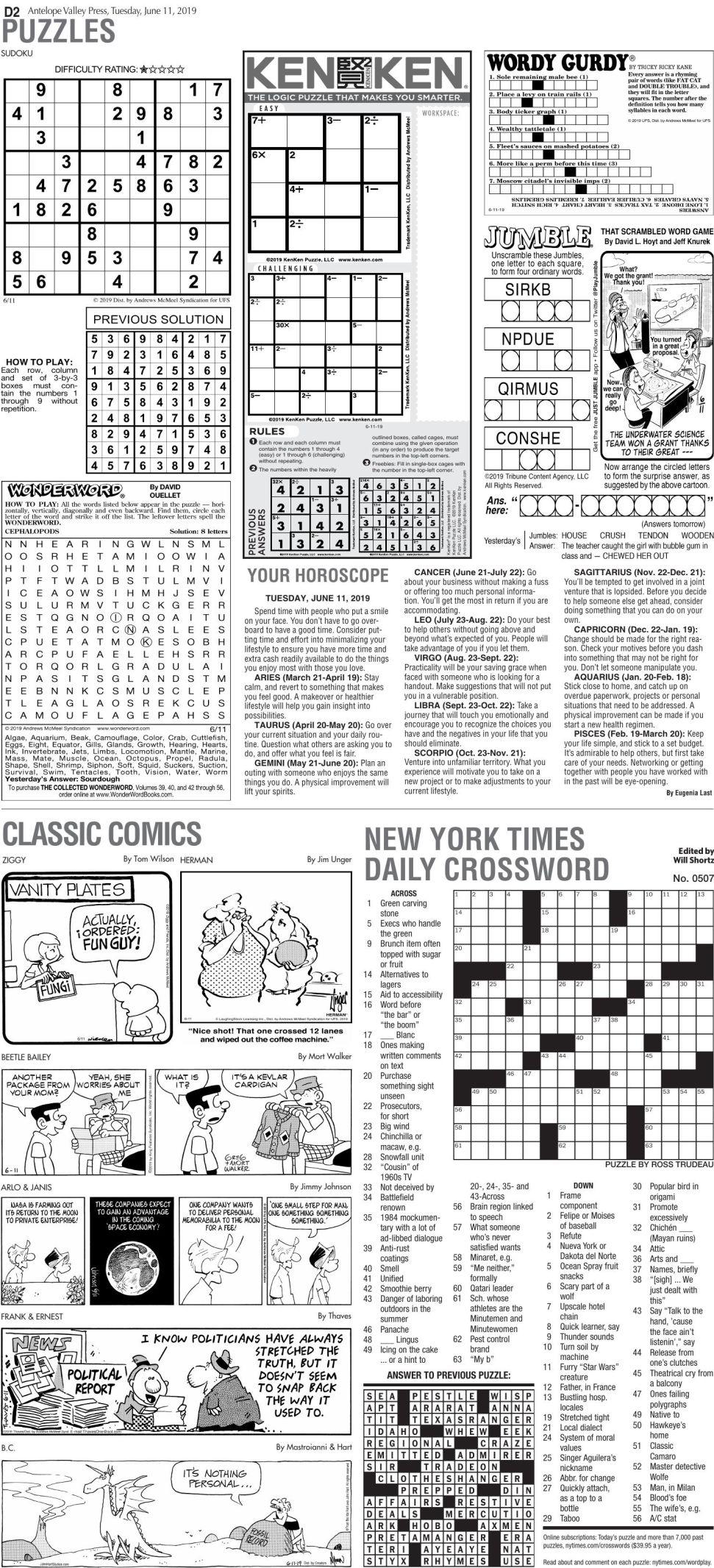 June 11, 2019 Puzzles