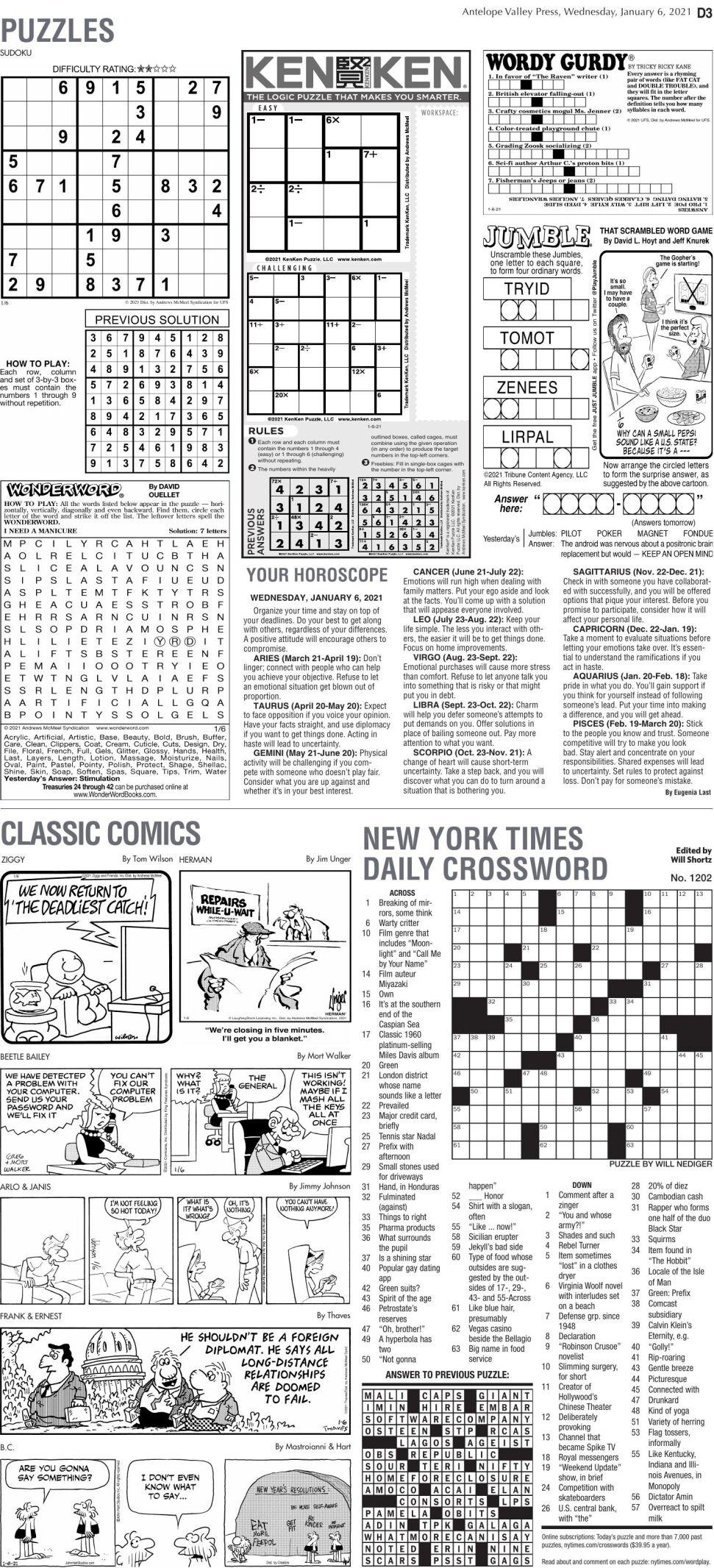 Puzzles, Jan. 6, 2021