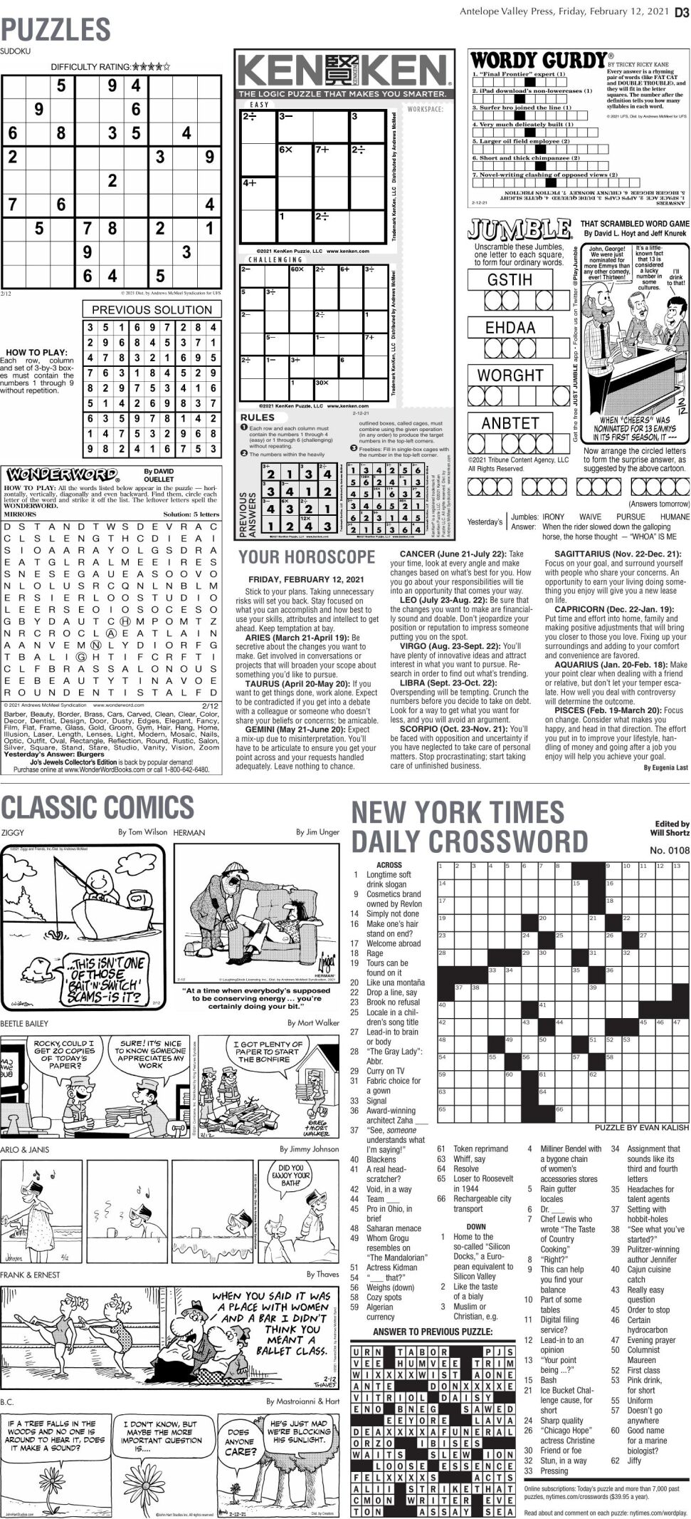Puzzles, Feb. 12, 2021