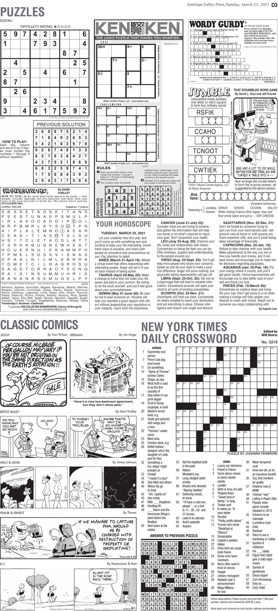Puzzles, March 23, 2021