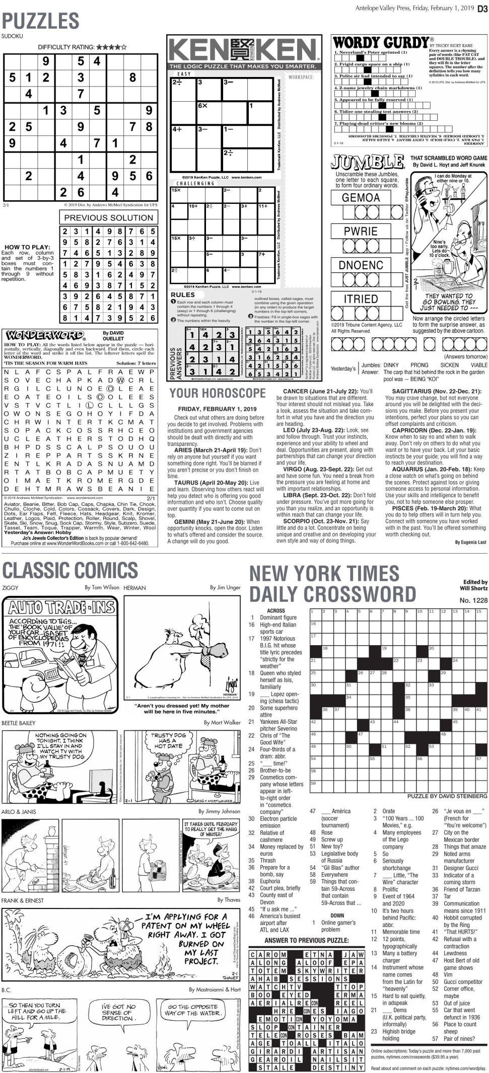 Feb. 1, 2019 Puzzles