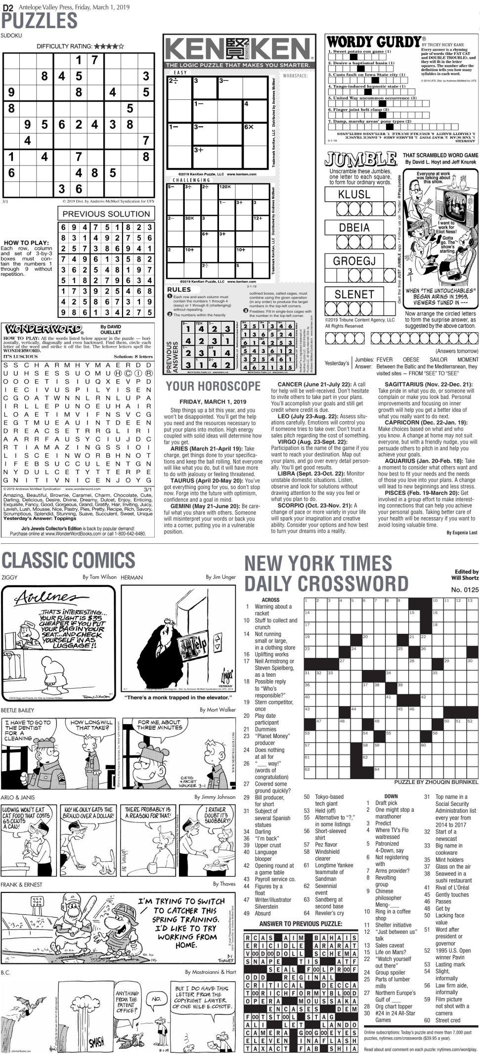 March 1, 2019 Puzzles