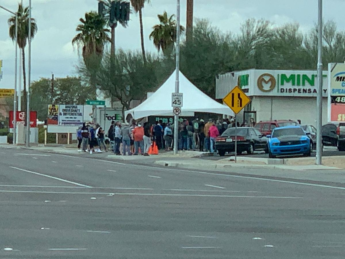 Line to legally buy recreational pot