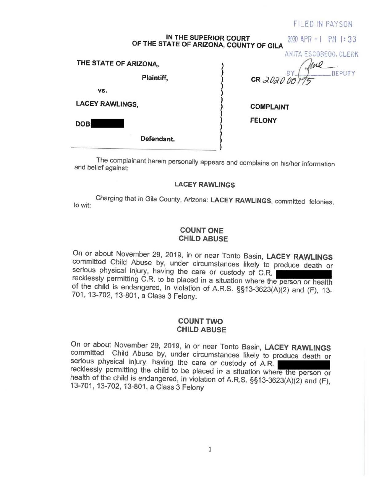 Lacey Rawlings Indictment