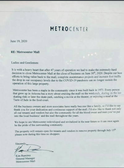 Metrocenter letter from GM