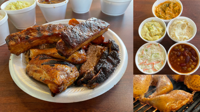 Hap's Pit Barbecue array of meats and sides
