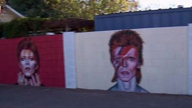 Local artist paints tribute mural to late David Bowie