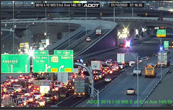 Crash shut downs westbound I-10 in west Phoenix