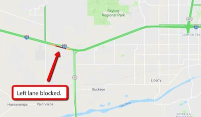 I-10 restricted westbound near Tonopah