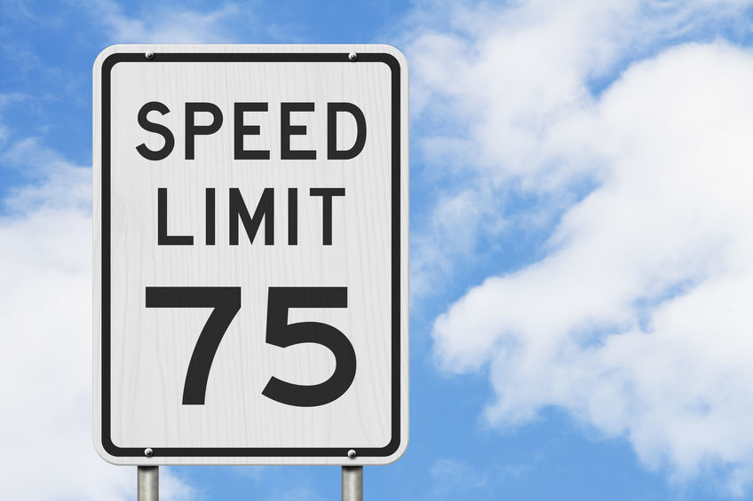 US 75 mph Speed Limit sign