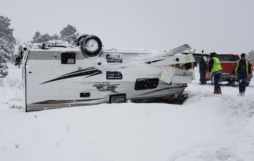 RV upside down in Flagstaff