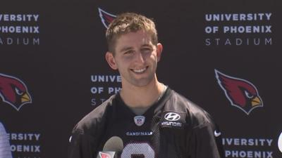 Josh Rosen hits practice field for the first time