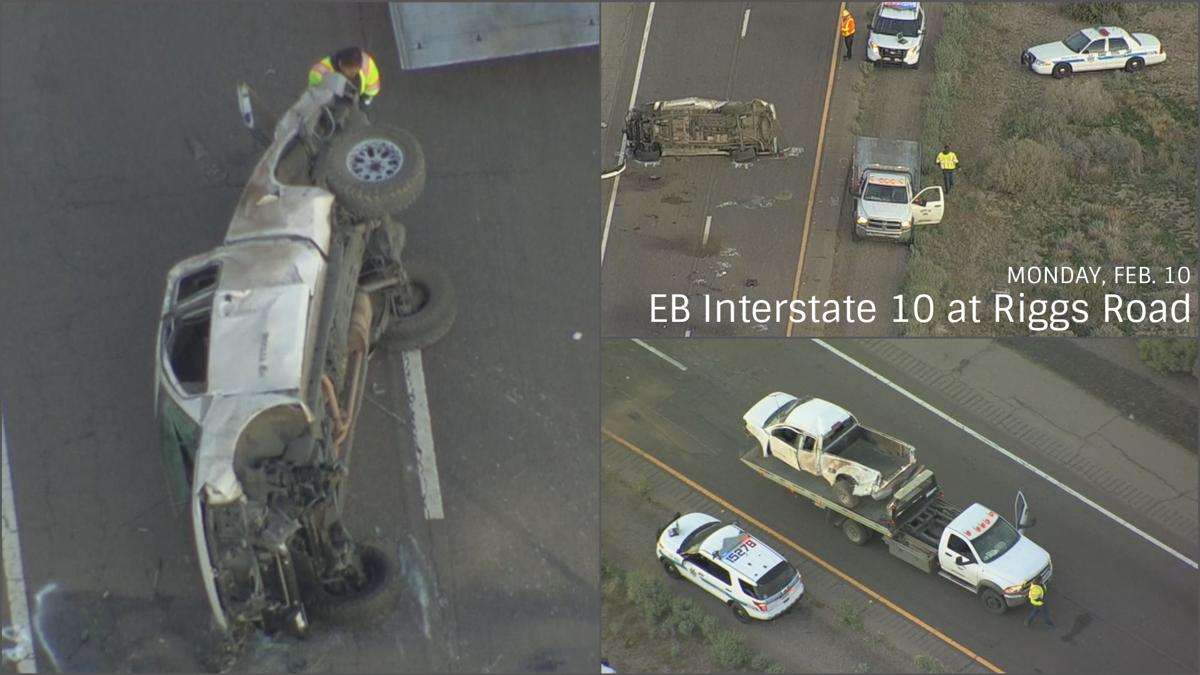 1 killed in rollover crash on I-10 at Riggs Road