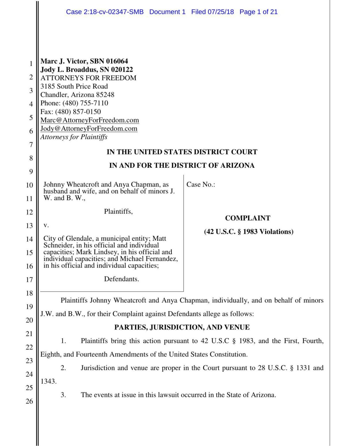 PDF: Complaint filed by Wheatcroft and Chapman