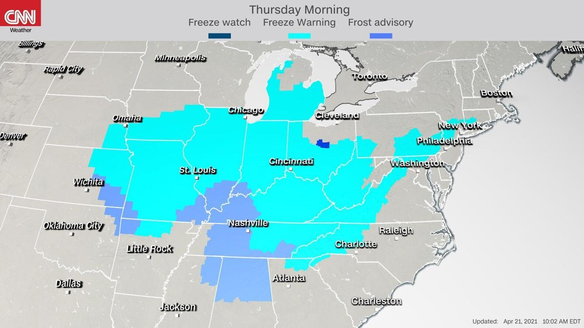 Over 70 million people are under freeze warnings as snow and severe storms track into Northeast