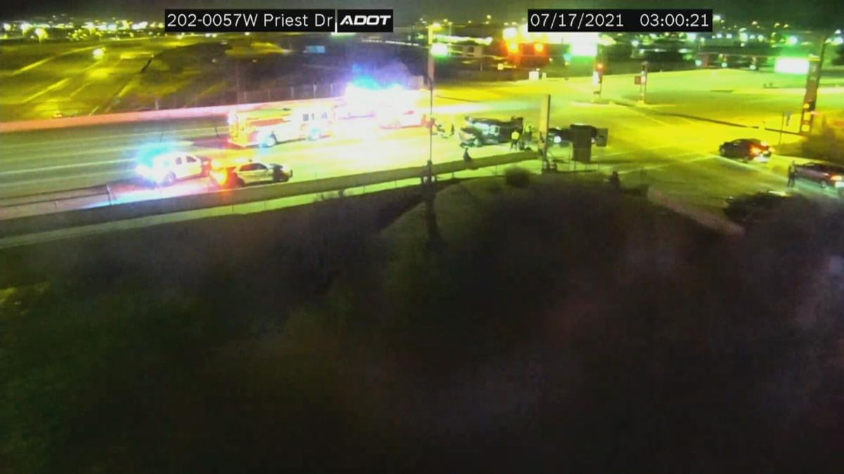 Two seriously hurt in wrong-way crash in Tempe - Overnight photo