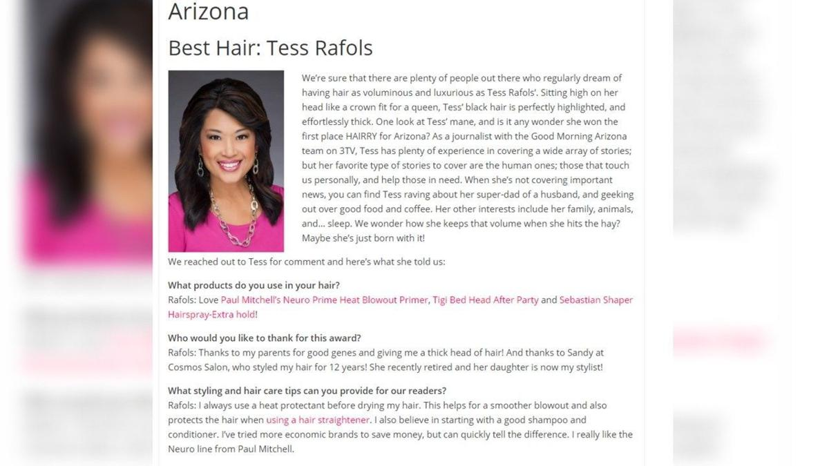 3TV anchor Tess Rafols selected as the Arizona local newswoman with the best hair
