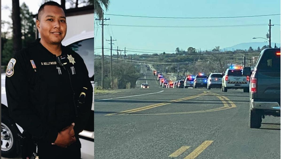 Procession underway for fallen Apache Police Officer David Kellywood .jpg
