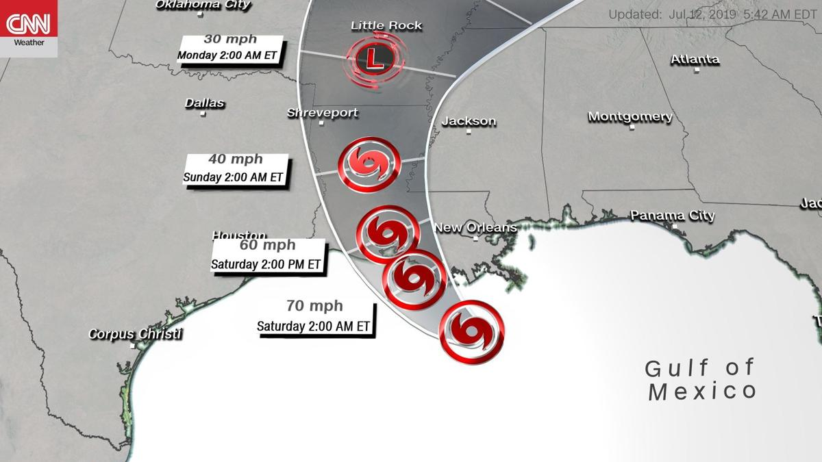 Tropical Storm Barry is almost a Category 1 hurricane as it nears the Louisiana coast
