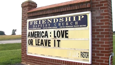 'America: Love or Leave it' church sign
