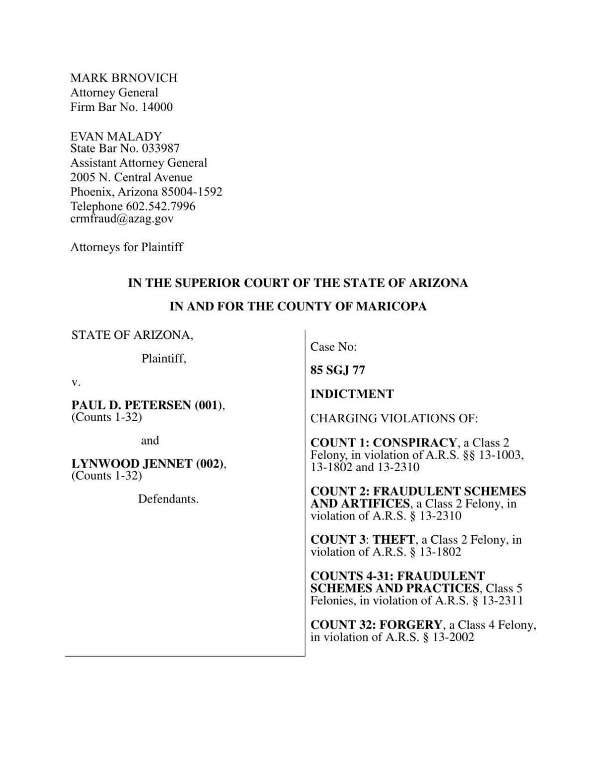 Indictment for Petersen and Jennet