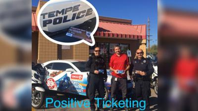 tempe pd circle k team up to hand out 39 positive tickets 39 for good deeds arizona news. Black Bedroom Furniture Sets. Home Design Ideas