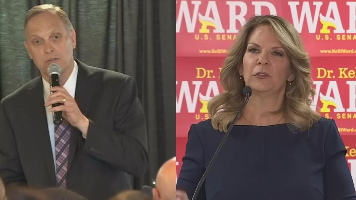 Congressman Andy Biggs and Kelli Ward, the chairwoman of the Arizona Republican Party