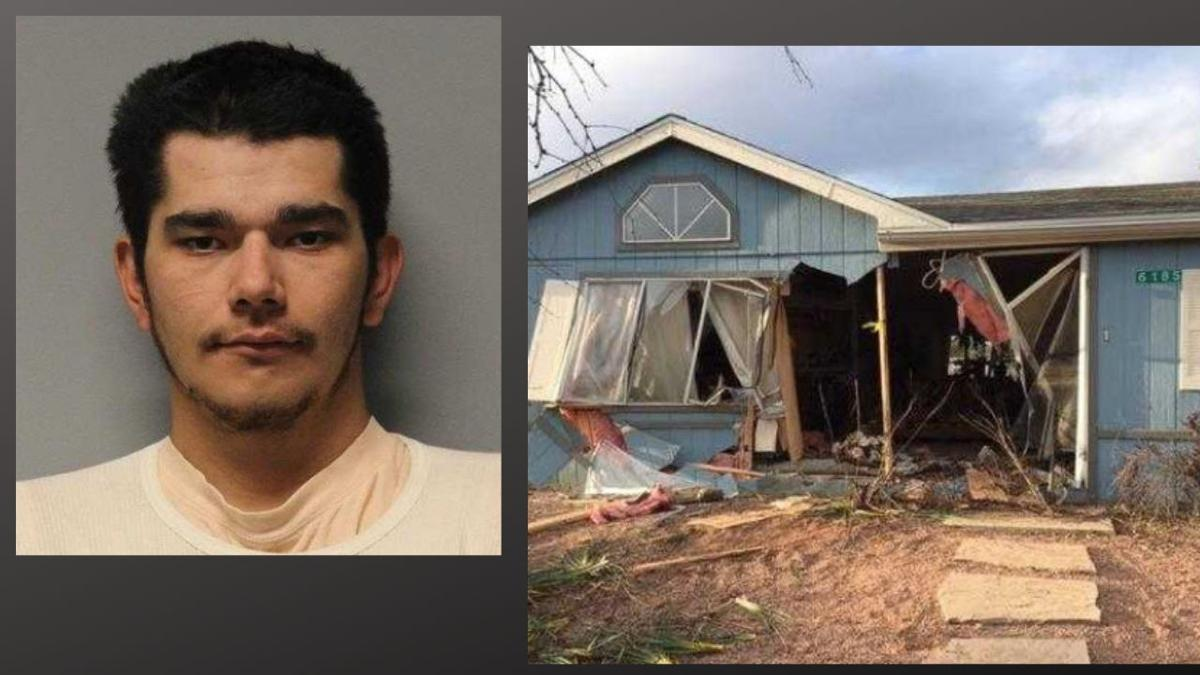 Suspect plows into home, striking woman sitting on a coach