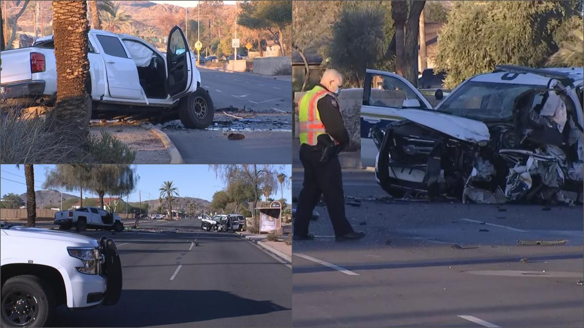 Phoenix police SUV involved in head-on crash with wrong-way pickup