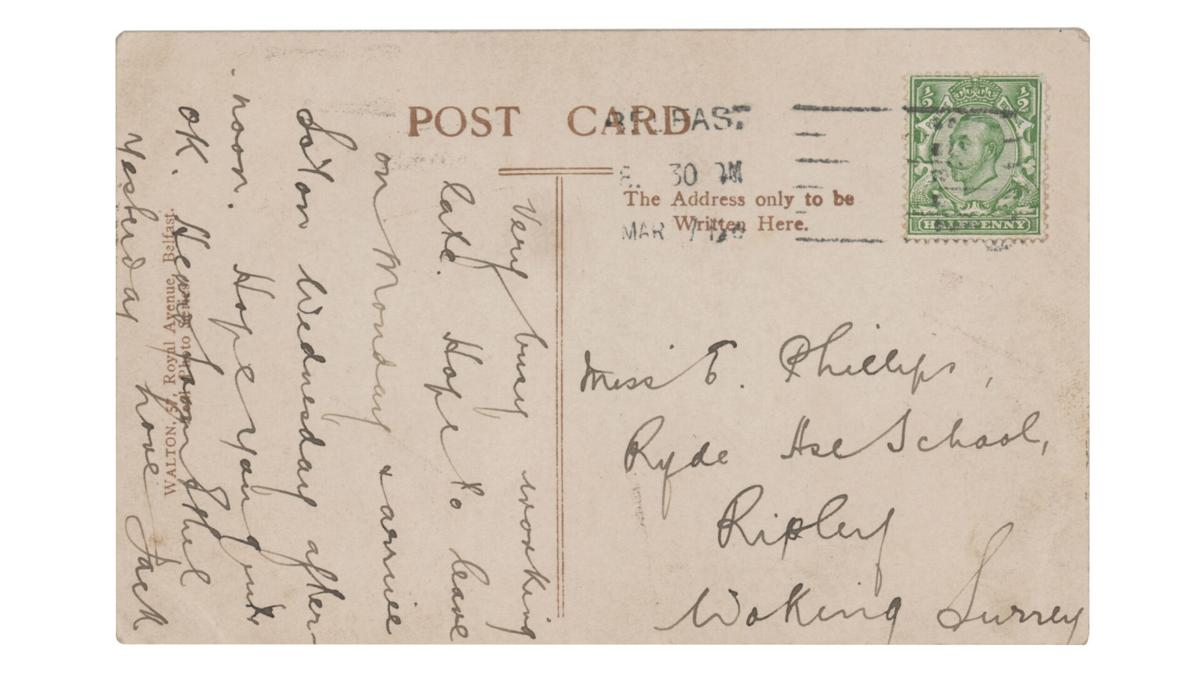 A postcard written by the Titanic's wireless operator could sell for up to $15,000