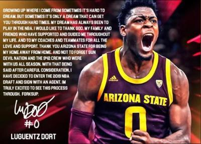 Going ProASU freshman Luguentz Dort declares for the NBA Draft.